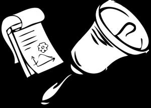 Grafik mit Klingel und Notizblock