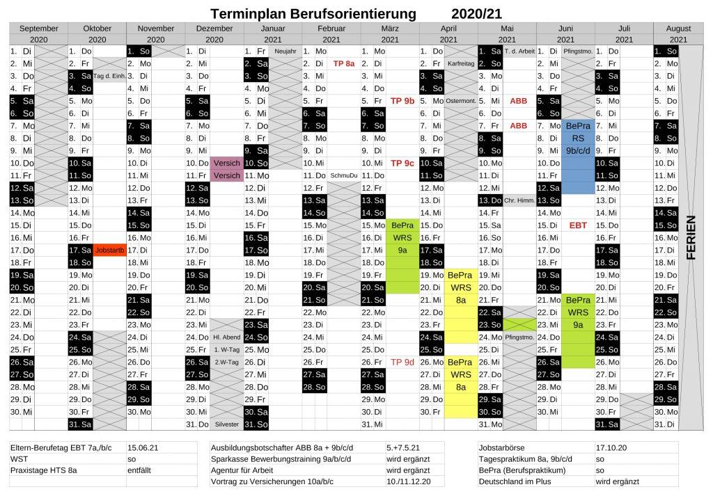 Terminplan Berufsorientierung 2020/21